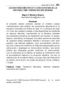 LAS HISTORIAS MÚLTIPLES Y LA REESCRITURA DE LA HISTORIA COMO TENDENCIAS DISCURSIVAS. Mayra Y. Mendoza Blanco