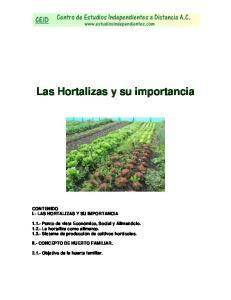 Las Hortalizas y su importancia