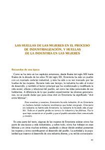 LAS HUELLAS DE LAS MUJERES EN EL PROCESO DE INDUSTRIALIZACIÓN, Y HUELLAS DE LA INDUSTRIA EN LAS MUJERES