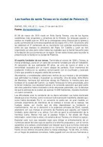 Las huellas de santa Teresa en la ciudad de Palencia (I)