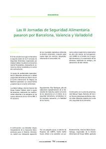 Las III Jornadas de Seguridad Alimentaria pasaron por Barcelona, Valencia y Valladolid