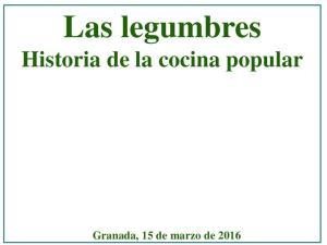 Las legumbres. Historia de la cocina popular