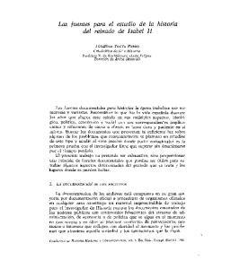 Las luentes para el estudio de la historia del reinado de Isabel II