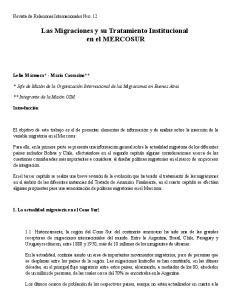 Las Migraciones y su Tratamiento Institucional en el MERCOSUR