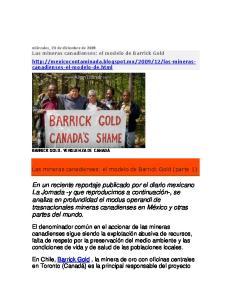Las mineras canadienses: el modelo de Barrick Gold (parte 1)