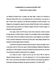 LAS MISIONES CULTURALES ENTRE 1922 Y 1927