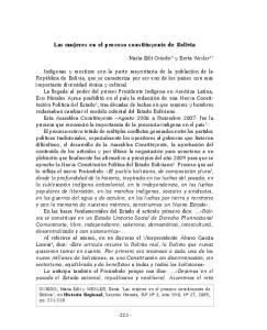 Las mujeres en el proceso constituyente de Bolivia