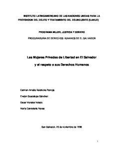Las Mujeres Privadas de Libertad en El Salvador. y el respeto a sus Derechos Humanos