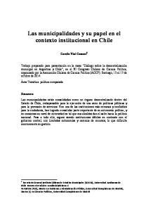Las municipalidades y su papel en el contexto institucional en Chile