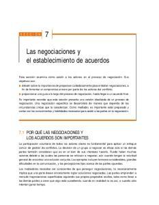 Las negociaciones y el establecimiento de acuerdos