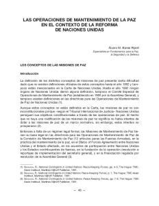 LAS OPERACIONES DE MANTENIMIENTO DE LA PAZ EN EL CONTEXTO DE LA REFORMA DE NACIONES UNIDAS