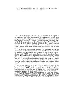 Las Ordenanzas de las Aguas de Granada