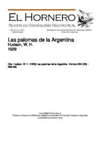 Las palomas de la Argentina Hudson, W. H. 1929