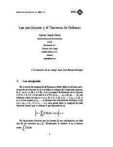 Las particiones y el Teorema de Bolzano