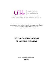 LAS PLANTAS DESALADORAS DE LAS ISLAS CANARIAS