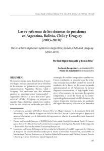 Las re-reformas de los sistemas de pensiones en Argentina, Bolivia, Chile y Uruguay ( ) 1