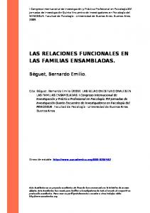 LAS RELACIONES FUNCIONALES EN LAS FAMILIAS ENSAMBLADAS