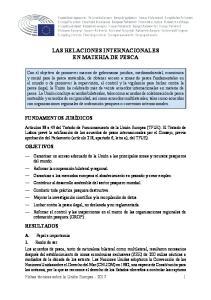LAS RELACIONES INTERNACIONALES EN MATERIA DE PESCA