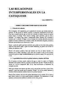 LAS RELACIONES INTERPERSONALES EN LA CATEQUESIS