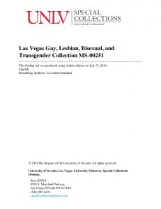 Las Vegas Gay, Lesbian, Bisexual, and Transgender Collection MS-00251