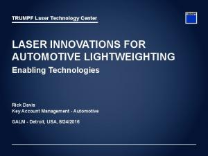 LASER INNOVATIONS FOR AUTOMOTIVE LIGHTWEIGHTING