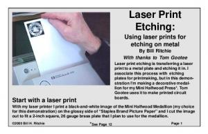 Laser Print Etching: Using laser prints for etching on metal By Bill Ritchie