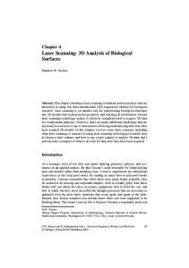 Laser Scanning: 3D Analysis of Biological Surfaces