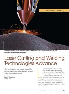 Laser technologies for cutting and welding. Laser Cutting and Welding. Technologies Advance. Laser Cutting and Welding