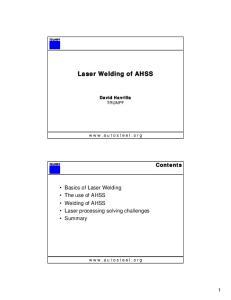Laser Welding of AHSS