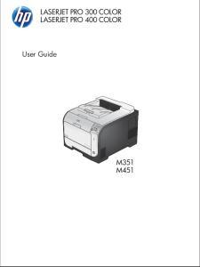 LASERJET PRO 300 COLOR LASERJET PRO 400 COLOR. User Guide M351 M451