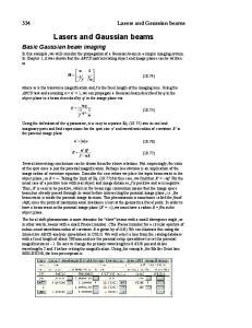 Lasers and Gaussian beams