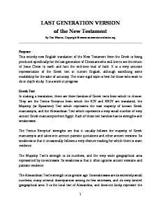 LAST GENERATION VERSION of the New Testament