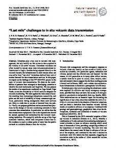 Last mile challenges to in situ volcanic data transmission