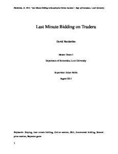 Last Minute Bidding on Tradera