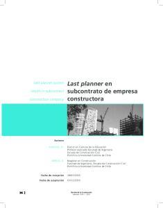 Last planner en subcontrato de empresa constructora