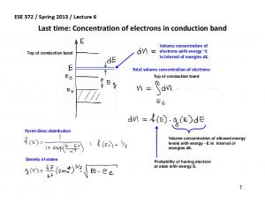 Last time: Concentration of electrons in conduction band