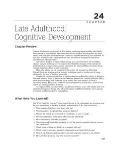 Late Adulthood: Cognitive Development
