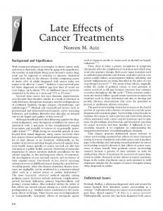 Late Effects of Cancer Treatments