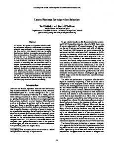 Latent Features for Algorithm Selection