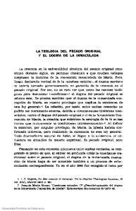 LATEOLOGIA DEL PECADO ORIGINAL Y EL DOGMA DE LA INMACULADA