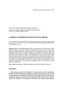 LATERAL ASYMMETRY OF HUMAN LONG BONES