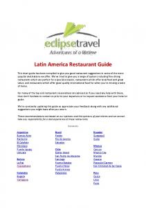 Latin America Restaurant Guide