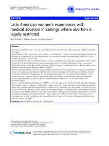 Latin American women s experiences with medical abortion in settings where abortion is legally restricted
