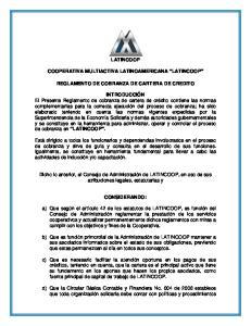 LATINCOOP COOPERATIVA MULTIACTIVA LATINOAMERICANA LATINCOOP REGLAMENTO DE COBRANZA DE CARTERA DE CREDITO