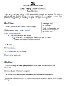 Latino Essay Competition Essay Checklist