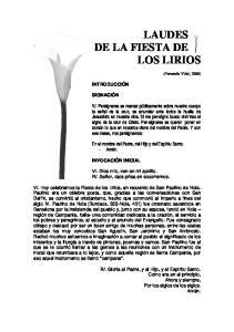 LAUDES DE LA FIESTA DE LOS LIRIOS