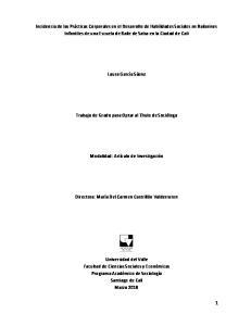 Laura García Sáenz. Trabajo de Grado para Optar al Título de Socióloga. Modalidad: Artículo de Investigación