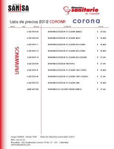 LAVAMANOS. Lista de precios 2012 CORONA