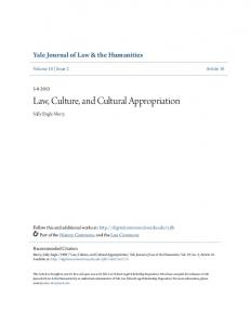 Law, Culture, and Cultural Appropriation