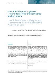 Law & Economics geneza